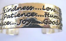 Shiny Silver Copper Alloy Cuff Bracelet 3/4 In. Wide Fruits of the Spirit Words