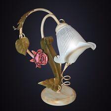 Lampada comodino da tavolo arte povera classico ferro battuto calle foglie rose