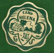 VINTAGE  GIRL SCOUT CAMP JACKET PATCH - CAMP HELENA - FLOCKED CANVASS