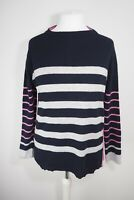 Pier 17 Cashmere Merino Wool Blend Jumper Size Large Stripes Navy Grey Pink