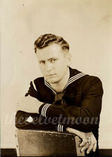 Vintage Male Military - WW2 Navy Portrait Sailor Arms Crossed on Chair in Studio