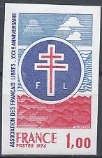 ASSOCIATION FRANÇAIS LIBRES N°1885 TIMBRE NON DENTELÉ IMPERF 1976 NEUF ** MNH