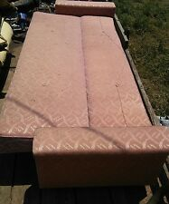 000 Funky Vintage 1960's Era Futon Couch Antique Sofa Pink Peach