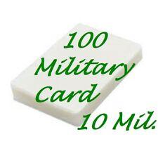 100 MILITARY CARD Laminating Laminator Pouches Sheets 2-5/8 x 3-7/8 10 Mil Gloss