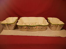 Temp-tations Ovenware Green & Floral Design 3 Baking Dishes