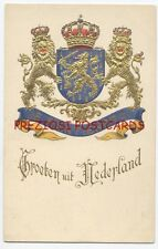 COAT OF ARMS of the NETHERLANDS - LIONS etc. SUPERB 1901 Postcard