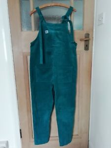 """Lucy and Yak Organic Cotton Corduroy Teal Dungarees Small 30"""" Leg 38"""" Unused."""