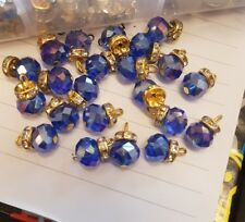15 mm elegante Cristales de vidrio azul AB Gem casaca Botón Coser en Joya Diamante de Imitación