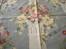 Antique Vtg Shabby Floral Pillar Column Print Cotton Fabric ~ Blue Pink Yellow