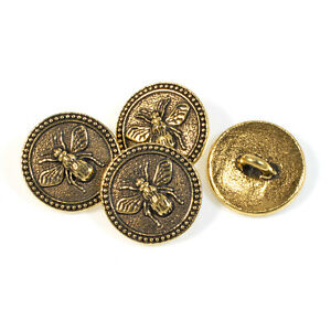 Gold Bee Buttons, TierraCast Leather Clasp + Shank Back 4/Pkg