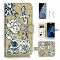 ( For Samsung Galaxy S7 ) Case Cover P2545 Skull Rose Sword