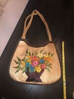 Vintage 70's Straw Raffia Bag With Embroidered Flowers With Wood Handles