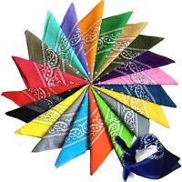 20PCS 100% COTTON 22 x 22 IN Multi Colors Non Fading Large Paisley Bandanas