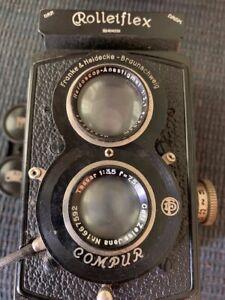 Antique ROLLEIFLEX Franke & Heidecke Compur #404339 Camera w/Leather Case
