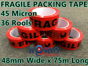 36x Sticky Fragile Packing Tape Packaging Tape-45 Micron Adhesive Tape 48mmx75M