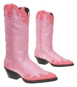 TWISTED X Cowboy Boots 6.5 C Womens EXOTIC Ostrich Inlays PINK Leather Boots USA