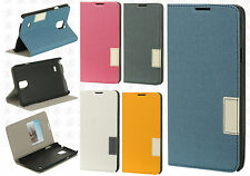 Samsung Galaxy Note 4 Premium Leather 2 Tone Wallet Case Pouch Flap STAND Cover
