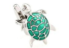 Turtle Cufflinks Green Silver Tortoise Sea Wedding Fancy Gift Box Free Ship USA