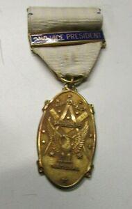 Vintage Masonic Medal - 2nd Vice President Sojourners National -  Brass Medal