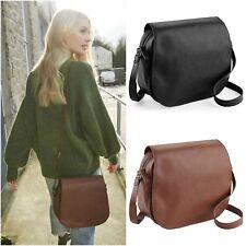 Faux Leather Saddle Bag Handbag Shoulder Cross Body Hand Bag Brown Black Satchel