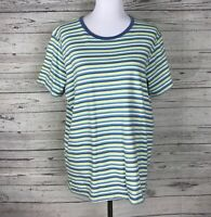 Hanes Women's Blue/Green/White Striped Short Sleeve 100% Cotton Knit Top Size XL