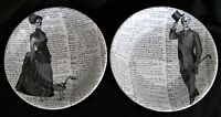 """2x Victorian English Pottery Halloween Serving Bowl Skeleton Lady Dog Top Hat 9"""""""