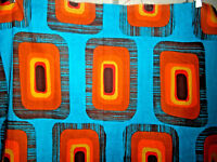 Vintage abstract mid century fabric cotton yardage huge colorful hippie panel