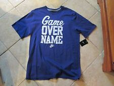 """Nike """"Game Over Name!"""" Slogan Tee (Xl) Nw/Tags $25 Blue W/White Letters Great!"""