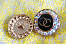 Stamped Chanel Buttons 2 pieces pearl & crystals 22 mm