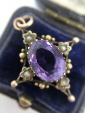 Antique Victorian Amethyst Seed Pearl Pretty Pendant Set In Yellow Gold