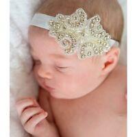 Newborn Baby Girl Rhinestone Sequin Sparkle Glam Wedding Headband 0-3 years