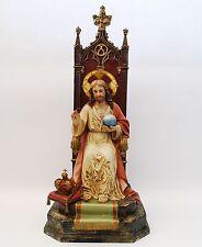 Antique/Vintage Jesus Christ On Throne Statue - Gesso 0n Wood - Large