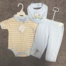 BOYS SIZE 6/9 MONTHS OUTFIT - PETITE BEARS 3 PIECE OUTFIT