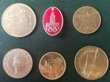OLYMPICS USSR CANADA USA SPORT TORCH OLYMPIC LOT OF 6 RARE TOKEN COIN MEDAL PIN
