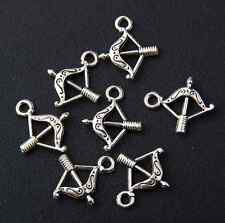 20pcs zinc alloy antique silver Bow and arrow pendants 16mm J089P