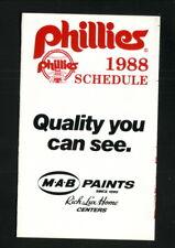 Philadelphia Phillies--1988 Pocket Schedule--MAB Paints