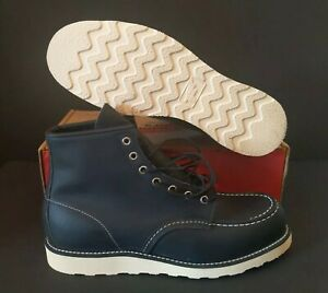 RED WING MEN'S HERITAGE CLASSIC MOC 6-INCH 9075 BLACK LEATHER BOOTS SIZE: 11