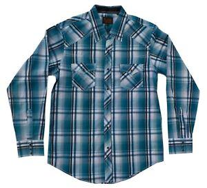 Men's plaid button shirt, Plains Western, long sleeve, Turquoise, size Medium