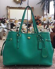 New COACH Peyton Saffiano Green Leather Drawstring Tote Carry-All Handbag F29362