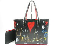 Authentic Christian Louboutin cabata tote leather studs black Italy r38654