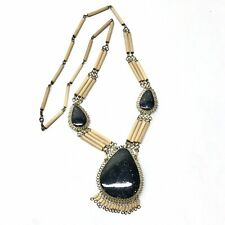 Black Agate Bohemian Fringe Statement Necklace