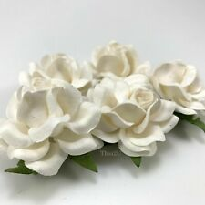 "2"" WHITE ROSES DIY Paper Flower Wedding bouquet Favor Gift Scrapbook R77L-15"