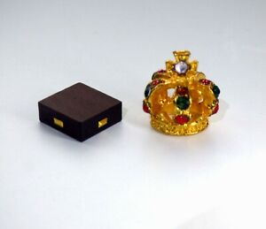1/12 dolls house miniature Handmade Gold Crown on Stand Ornament Table Tudor LGW