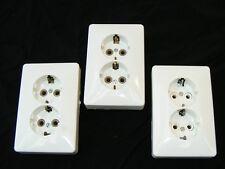 Antiguo Enchufe blanco Oculta Lata UP Loft Diseño Art Decó Zócalo doble