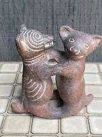 Mexican Folk Art Clay Terracotta Pottery Pre-Columbian Dancing Hug Dogs / Colima