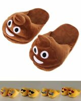Emoji Puschen Kacki Schlappen Unisex Hausschuhe Pantoffeln Plüsch Kuschelig