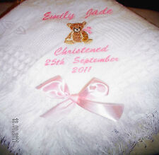 Personalised christening shawl teddy,hands.bible.cross in white