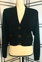 ST. JOHN Vintage Marie Gray Black Santana Knit Short Button Cardigan 10