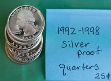 1992 thru 1998 S Washington Quarter Seven 90% Silver Proof 7 Coin 25 Cents Set