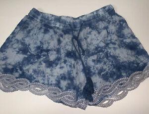 Rampage Size Medium Womens Shorts Decorative Leg Blue Spatter Elastic Band Ties